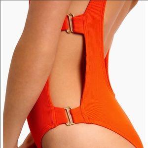 l*space mayra orange one-piece bathing suit